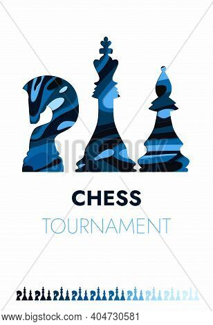 Chess Tournament Poster Template. Sport Game Vector Flyer. Chess Tournament, Checkmate Strategy Spor