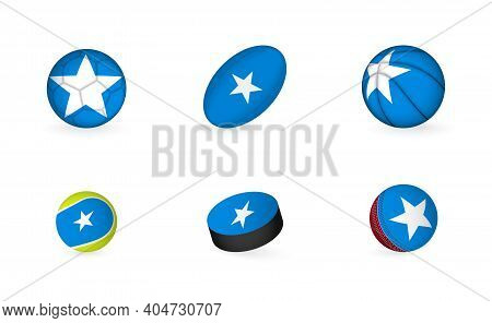 Sports Equipment With Flag Of Somalia. Sports Icon Set Of Football, Rugby, Basketball, Tennis, Hocke