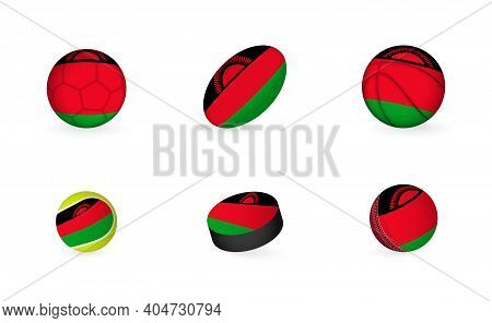 Sports Equipment With Flag Of Malawi. Sports Icon Set Of Football, Rugby, Basketball, Tennis, Hockey