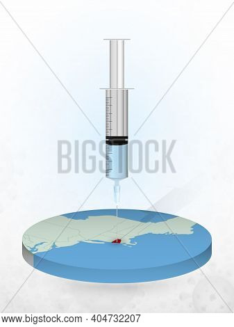 Vaccination Of Rhode Island, Injection Of A Syringe Into A Map Of Rhode Island. Vector Illustration