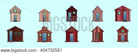 Set Of Wooden Shack Cartoon Icon Design Template With Various Models. Modern Vector Illustration Iso