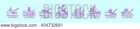 Set Of Tugboat Cartoon Icon Design Template With Various Models. Modern Vector Illustration Isolated