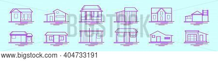 Set Of Shack And House Cartoon Icon Design Template With Various Models. Modern Vector Illustration