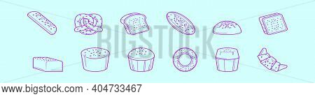 Set Of Raisins Breads Cartoon Icon Design Template With Various Models. Modern Vector Illustration I