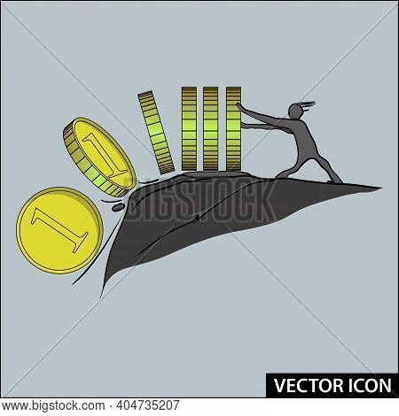 Vector Business Icon Inflation Pushing Money Into The Abyss