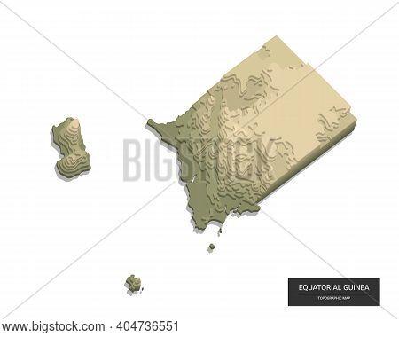 Equatorial Guinea Map - 3d Digital High-altitude Topographic Map. 3d Vector Illustration. Colored Re