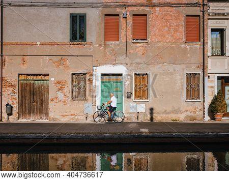Comacchio, Ferrara / Italy - August 2020: View Of The Historic Center Of Comacchio, Emilia Romagna (