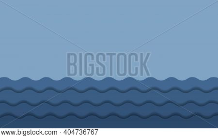 Blue Abstract Background Wave Paper Layers With Drop Shadows. Modern Empty Water Banner Space For Te