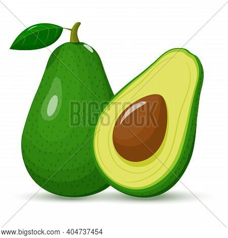 Avocado Whole And Half. Green Avocado With Seed. Fruit Isolated On A White Background. Flat Design.