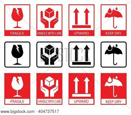 Fragile Icons. Set Of Packaging Symbols :this Side Up, Handle With Care, Fragile, Keep Dry