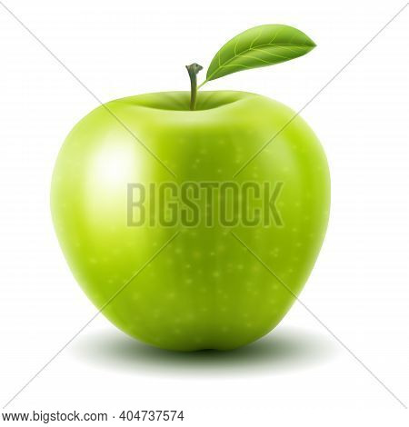 Apple. Vector Illustration Of Fresh Green Apple With Single Leaf, Realistic Gradient Mesh Design, Is