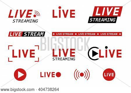 Set Of Live Streaming Icons. Red And Black Symbols And Buttons Of Live Streaming, Broadcasting, Onli