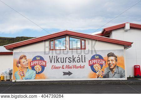 Vik I Myrdal Iceland - September 4. 2020: Vikurskali Diner And Mini Market
