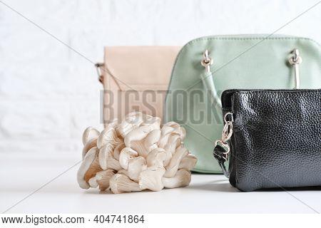Handbags Made Of Mycelium Leather, Bio Based Sustainable Alternative To Leather Made Of Mushroom Spo