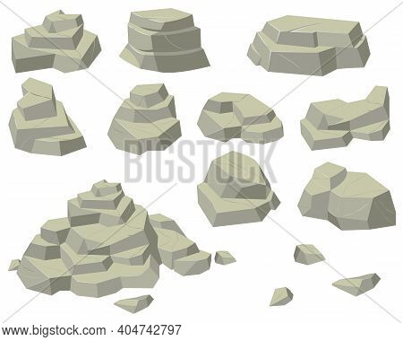 Stacks Of Flat Rocks Set. Heaps Of Natural Stones Of Different Sizes, Rocky Pyramids And Steps Isola