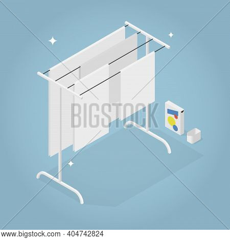 Vector Isometric Laundry Illustration. Drying Clean Linen On Clothesline, Laundry Detergent And Meas