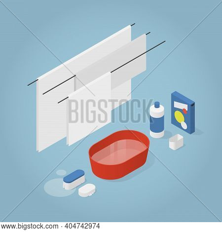 Vector Isometric Laundry Illustration. Drying Clean Linen On Clothesline With Laundry Detergent, Mea