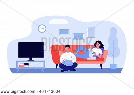 Man And Woman Watching Tv In Living Room With Pets. Couple, Cat Lovers, Home. Flat Vector Illustrati