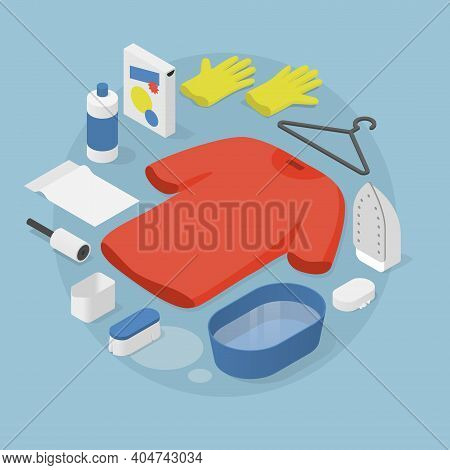 Vector Isometric Laundry Illustration. T-shirt With Laundry Objects Around - Bucket With Water, Laun