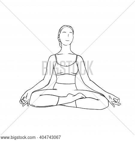 Yoga Meditation In Siddhasana. Om Meditation For Body Relax And Spirit Harmony. Engraved Vector Illu