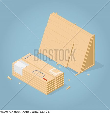 Vector Isometric Lamber Storage Illustration. Stack Of Wooden Planks, And The Stand With Plywood She