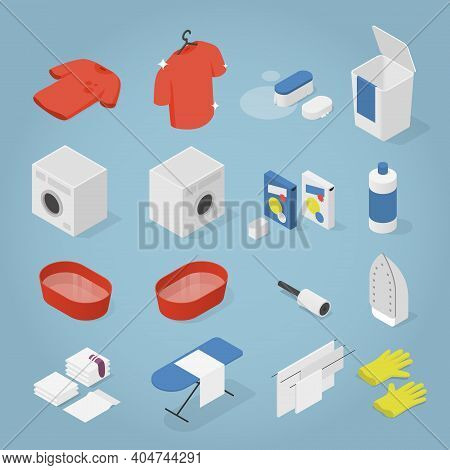 Vector Isometric Laundry Objects Set. Collection Of Laundry Objects - Clothes, Washing Machine, Laun