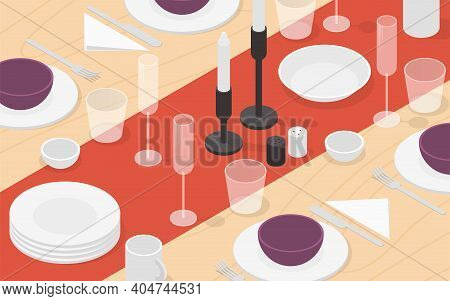 Vector Isometric Table Setting Illustration. Tableware On The Wooden Surface - Plates, Bowls, Glasse
