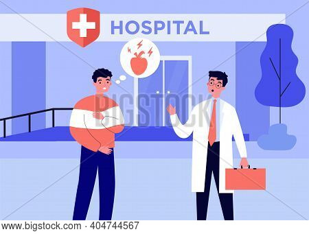 Anxious Patient Going To Hospital With Pain In Heart. Doctor, Disease, Health Flat Vector Illustrati