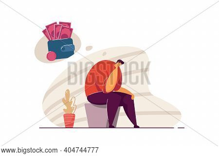 Depressed Broke Person Having Debts And Money Troubles. Bankrupt Suffering From Depression And Finan