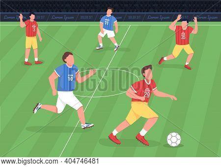 Football Match Flat Color Vector Illustration. Forward Running Towards Enemy Side. Proffessional Soc
