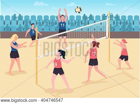 People Playing Volleyball On Beach Flat Color Vector Illustration. Visitors Spending Their Free Holi