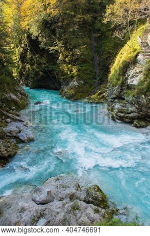 The confluence of the rivers Tolminka and Zadlascica in Tolmin Gorge in the Triglav National Park, north western Slovenia