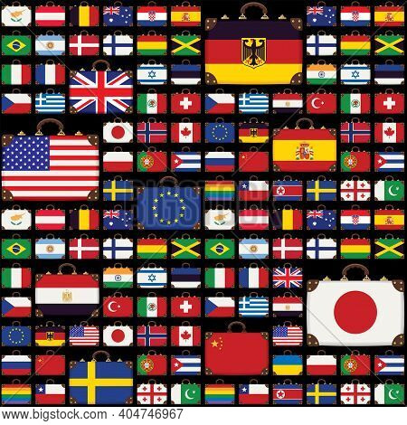Vector Seamless Pattern With Old Suitcases In The Colors Of The Flags Of Various Countries From Arou