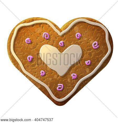 Gingerbread Heart Decorated Colored Icing. Holiday Cookie In Shape Of Heart. Vector Illustration For