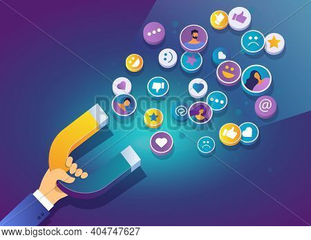 Hand Holding A Magnet. Marketing Magnet Engaging Followers Social Media. Social Media Marketing Conc
