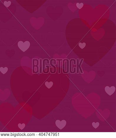 Crimson Burgundy Pink Hearts. Background. A Postcard.