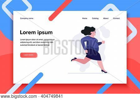 Fat Woman In Hurry. Female Employee In High Heeled Shoes Running To Office Flat Vector Illustration.