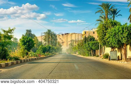 Road Along The Canal Of The Nile River