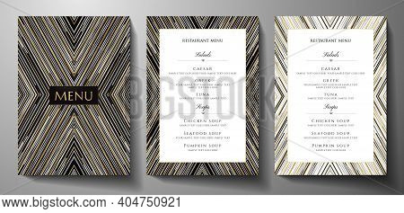 Design Restaurant Menu Template With Gold, Black, Silver Glitch Lines On Black Background. Luxury Fr