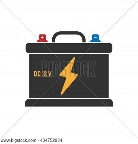 Car Battery Icon With Colored Plus And Minus Terminals. Flat Style