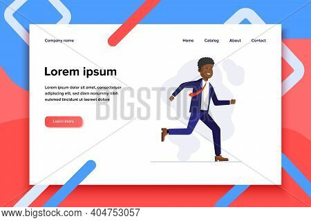 Cheerful African Manager Running To Work. Business Man In Suit Hurrying Flat Vector Illustration. Of