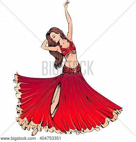 Vector Illustration Of Young Dancer Dancing Belly Dance Isolated On White Background. Oriental Dance