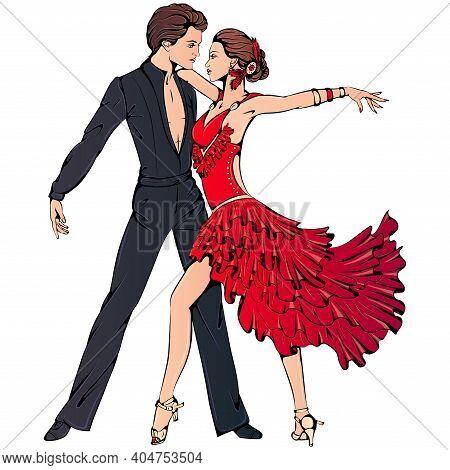 Vector Illustration Of Young Couple Dancing Ballroom Latin Dance Isolated On White Background. Samba