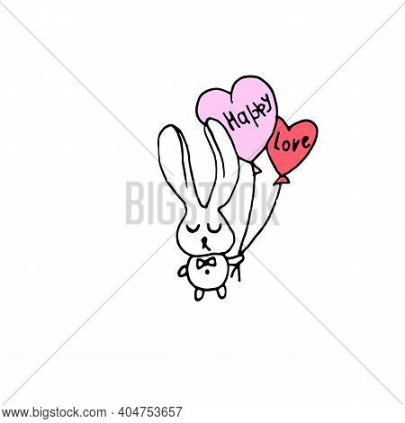 Rabbit With Ballons Happy  Love Valentines Day Illustration