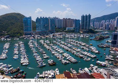 Aberdeen, Hong Kong 24 August 2020: Top view of Hong Kong yacht club