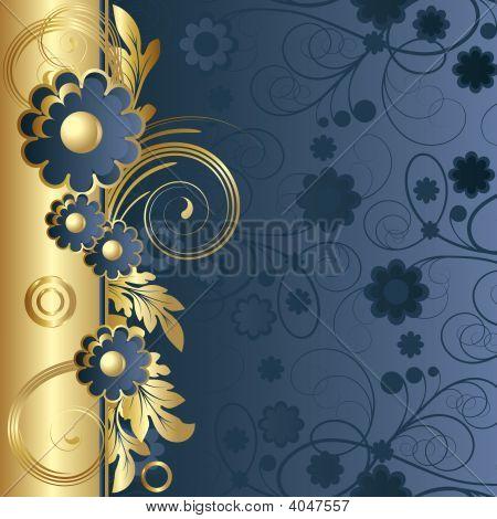 Dark Blue Background  With  Flowers