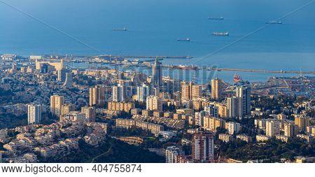 The Cityscape of Haifa At Sunset,  Haifa Downtown Aerial View, Israel