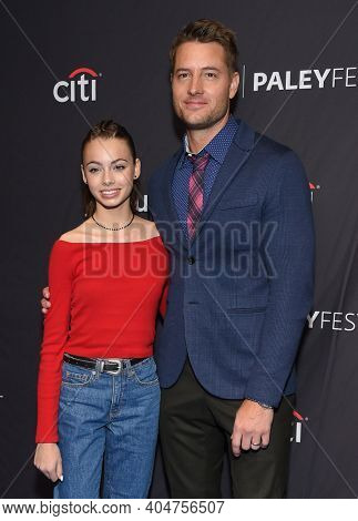 LOS ANGELES - MAR 24:  Justin Hartley and Isabella Justice Hartley arrives for PaleyFest 2019 - This Is Us on March 24, 2019 in Hollywood, CA