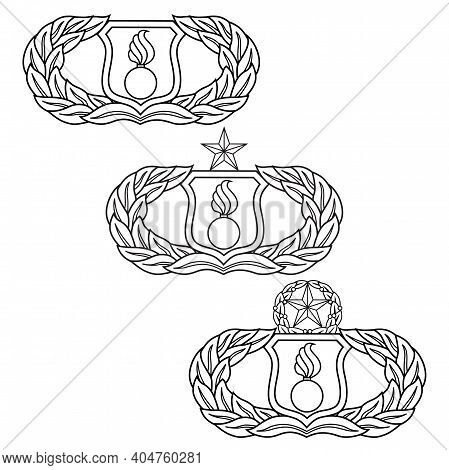 U.s. Air Force Munitions (ammo) Badge Set Is An Illustration That Includes The Basic, Senior And Mas