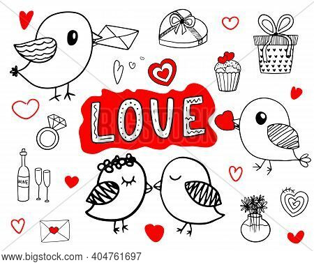 Cute Love Set With Doodle Elements With Red Accents. Vector